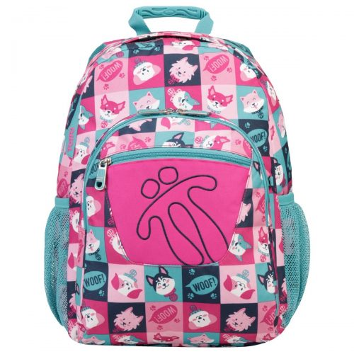 Mochila escolar, marca totto, modelo acuareles, estampado multicolor puppily